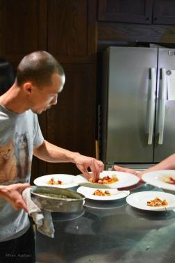 Plating - Albacore, prawn, poblano tamal, tomatillo, serrano, grape, coctel, onion, cotija