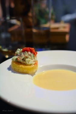 Sweet potato velouté, crab, green onion, red chili, chive, brioche