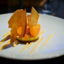 Lime tart, mandarin, mandarin-lime ice, pistachio, butternut squash mousse
