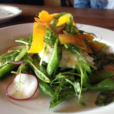 Spring veggies, burrata, bottarga, lemon vinaigrette